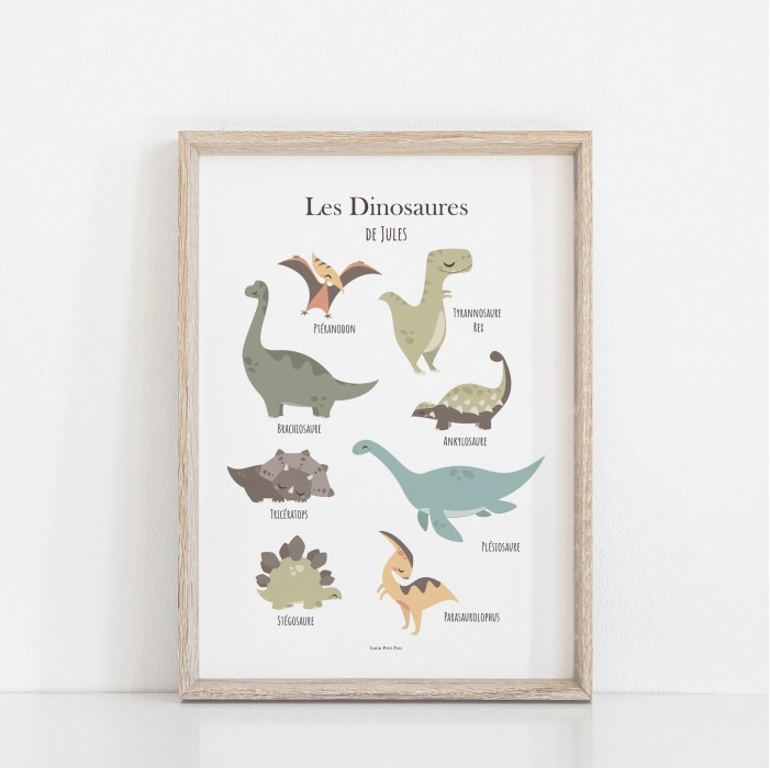 affiche enfant prénom dinosaures, affiche personnalisée dinosaures lutin petit pois