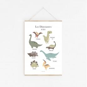 affiche bébé dinosaures personnalisable au prénom, poster dinosaures personnalisable