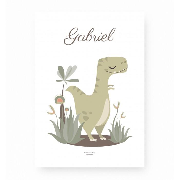 affiche enfant t rex personnalisable prénom, affiche enfant dinosaure personnalisable