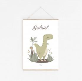 affiche bébé t rex personnalisable, affiche enfant t rex prénom, affiche tyrannosaure personnalisable