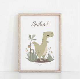 affiche enfant tyrannosaure personnalisable prénom, lutin petit pois