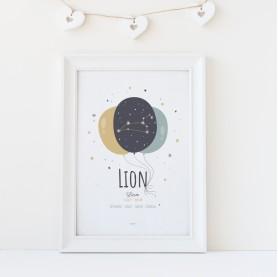 affiche enfant signa astrologique personnalisable, constellation zodiaque personnalisable lion