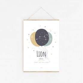 affiche constellation zodiaque lion personnalisable enfant, lutin petit pois