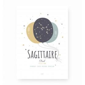 affiche signe sagittaire personnalisable, constellation du zodiaque sagittaire personnalisable