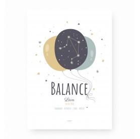 affiche signe sagittaire personnalisable, constellation du zodiaque balance personnalisable