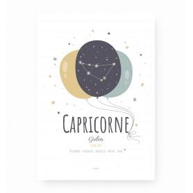 affiche signe sagittaire personnalisable, constellation du zodiaque capricorne personnalisable