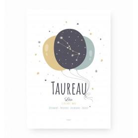 affiche signe sagittaire personnalisable, constellation du zodiaque taureau personnalisable