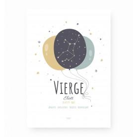 affiche signe sagittaire personnalisable, constellation du zodiaque vierge personnalisable