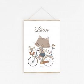 affiche enfant chat sur un vélo, affiche bébé garçon, affiche personnalisable prénom animaux
