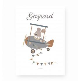 affiche enfant personnalisable prénom, affiche bébé prénom, lutin petit pois, affiche souris avion