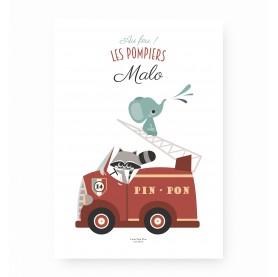 affiche enfant pompiers personnalisable, affiche enfant camion pompiers prénom, lutin petit pois