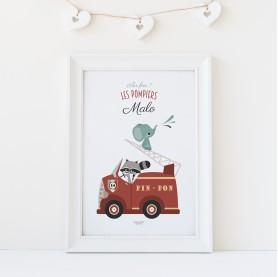 affiche enfant camion pompier personnalisable prénom, lutin petit pois