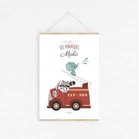 affiche bébé camion pompier personnalisable prénom, affiche bébé garçon personnalisable