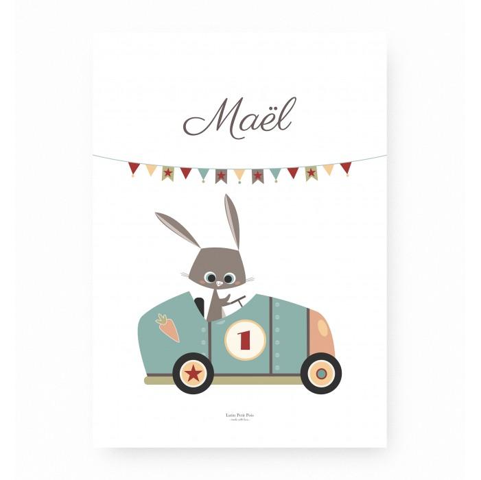 affiche enfant personnalisable prénom lapin voiture de course, affiche bébé prénom lapin