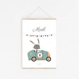 affiche enfant prénom lapin, affiche enfant prénom voiture bleu vintage, lutin petit pois