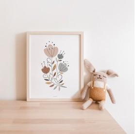 affiche enfant florale, affiche bébé fleurs, affiche enfant bohème, ,lutin petit pois