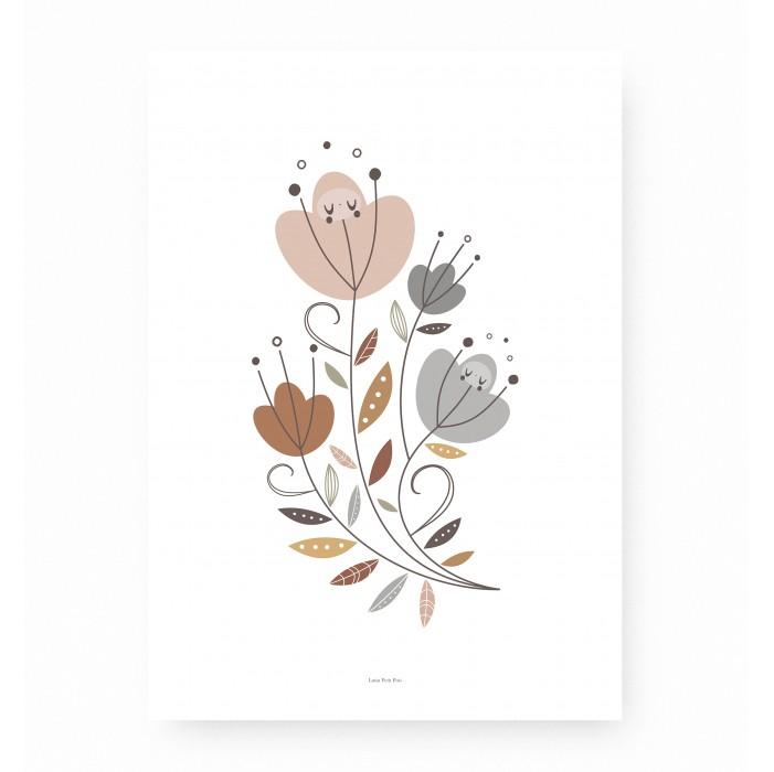 affiche enfant fleurs bouquet, affiche enfant bouquet de fleurs, lutin petit pois