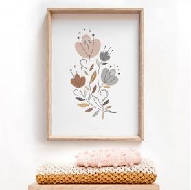 affiche enfant rose et ocre, rouille, affiche florale, affiche fleurs, affiche jardin enchanté