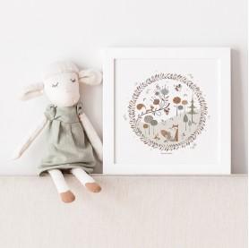 affiche enfant renard, affiche enfant écureuil, affiche bébé animaux forêt, lutin petit pois, little forest