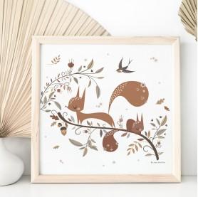 affiche bébé écureuil, affiche bébé animaux des bois, lutin petit pois