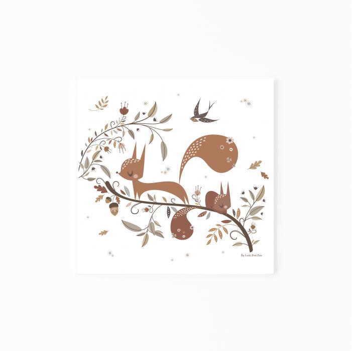 affiche enfant écureuil, affiche enfant animaux de la forêt, lutin petit pois, affiche bébé écureuil