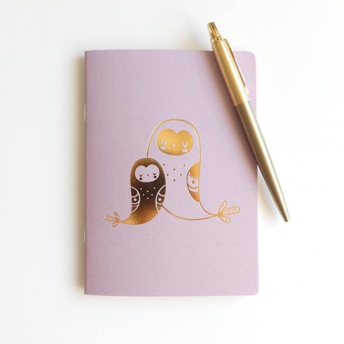 carnet de note enfant, papeterie enfant, carnet de note rose et or, carnet de note motifs dorés, lutin petit pois