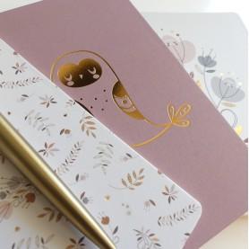 papeterie enfant, lutin petit pois, carnets de notes dorés, carnets de notes motifs dorés, carnet de note or cuivrée