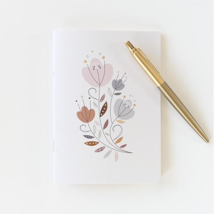 carnet de notes avec fleurs, carnet de notes motifs fleurs, carnet de note rose et or, lutin petit pois, papeterie enfant
