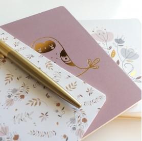 papeterie enfant, lutin petit pois, carnet de notes dorés, carnets de notes 10 x15 cm motifs fleurs et or
