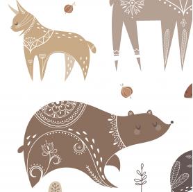 affiche animaux de la forêt, affiche enfant scandinave, affiche enfant marron et ocre