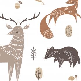 affiche enfant animaux des bois noir et blanc, affiche animaux scandinaves