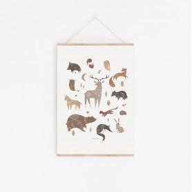affiche enfant ours, renard, cerf, loup, sanglier, hérisson, écureuil, affiche enfant automne