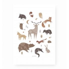 affiche animaux forêt, affiche animaux des bois, affiche renard, cerf, lutin petit pois