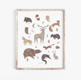 affiche animaux de la forêt, poster animaux forêt, affiche enfant animaux forêt