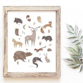affiche bébé animaux forêt, affiche enfant renard, affiche enfant cerf, affiche enfant biche