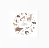 affiche enfant animaux de la forêt prénom, affiche naissance personnalisable prénom animaux forêt, lutin petit pois