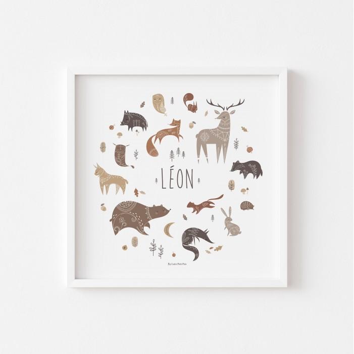 lutin petit pois, affiche enfant animaux des bois personnalisable prénom, affiche bébé prénom animaux