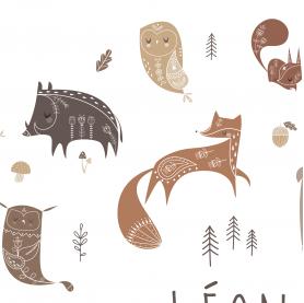 affiche enfant renard, poster enfant animaux de la forêt, affiche enfant chouette, hiboux