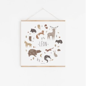 poster enfant animaux forêt, affiche enfant cerf, affiche renard, affiche ours, poster enfant animaux des bois, fouine, écureuil