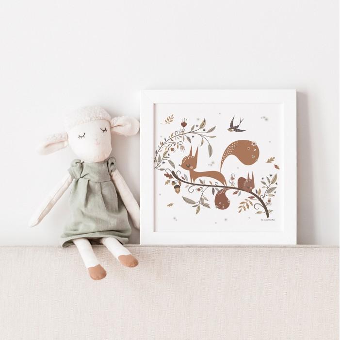 affiche enfant écureuil, affiche enfant animaux forêt, affiche animaux des bois, lutin petit pois, poster forêt