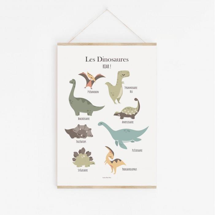 poster dinosaures, poster enfant dinosaures, poster dinosaures, lutin petit pois