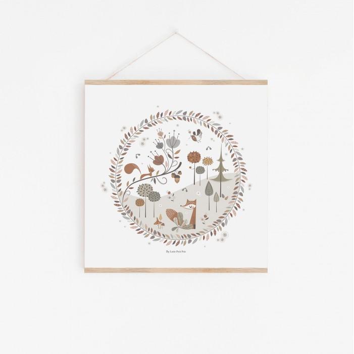 affiche enfant animaux forêt, affiche bébé animaux forêt, affiche enfant renard, lutin petit pois