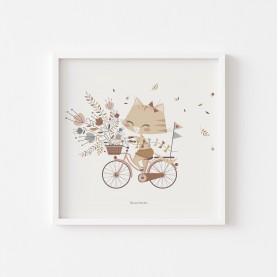 affiche enfant cat vélo, affiche enfant animaux, affiche bébé chat, affiche bébé fille, lutin petit pois