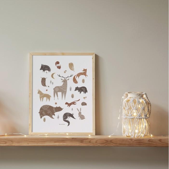 affiche enfant animaux forêt, affiche wood, poster animaux forêt, lutin petit pois
