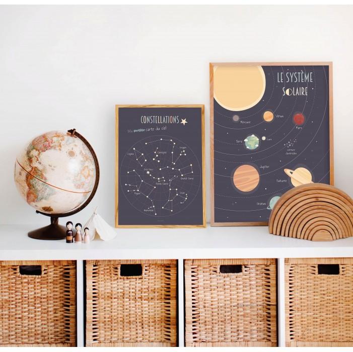 affiche enfant système solaire, poster enfant système solaire, affiche éducative planètes, lutin petit pois