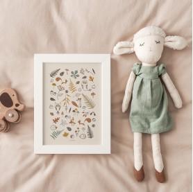 affiche enfant renard, affiche enfant hérisson, affiche enfant écureuil, affiche animaux forêt, lutin petit pois