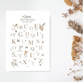 abécédaire nature, abécédaire automne, affiche abécédaire enfant, lutin petit pois, abécédaire des saisons