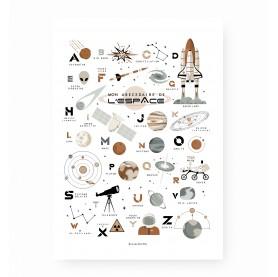 affiche enfant garçon, affiche enfant navette spatiale, lutin petit pois, abc espace, poster espace alphabet