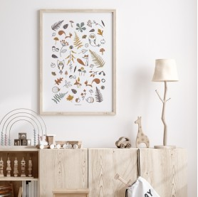 affiche bébé animaux forêts, affiche orée du bois, affiche enfant renard, lutin petit pois