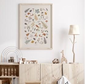 affiche animaux de la forêt, affiche enfant animaux forêt, lutin petit pois